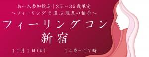 25~35歳限定!フィーリングで選ぶ理想の相手☆フィーリングコン-新宿(11/1)